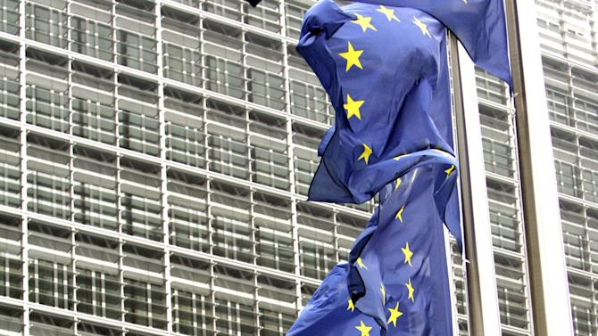 FILE In this Wednesday Nov. 8, 2006 file photo,  European Union flags wave in the wind outside EU headquarters in Brussels. The European Union has won the Nobel Peace Prize, it has been announced on Friday, Oct. 12, 2012.  (AP Photo/Virginia Mayo, File)
