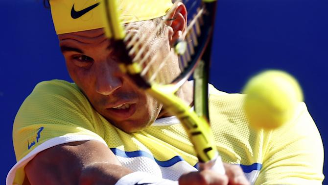 Spain's Nadal plays a shot during his tennis match against Italy's Lorenzi at the ATP Argentina Open in Buenos Aires