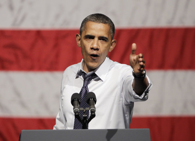 President Barack Obama gestures at a campaign stop in Oakland, Calif., Monday, July 23, 2012. (AP Photo/Paul Sakuma)