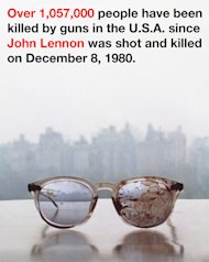Yoko Ono tweets against guns showing Lennon's bloody glasses