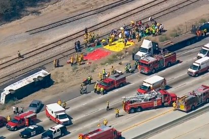 Tour bus crash in Southern California