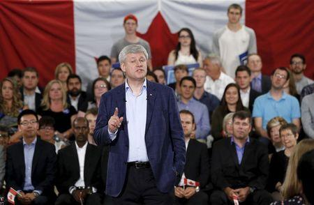 Conservative leader and Canada's PM Harper speaks during a campaign event in Ottawa