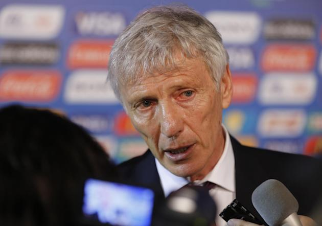 Colombia head coach Jose Pekerman from Argentina answers journalists' questions after   the draw ceremony for the 2014 soccer World Cup in Costa do Sauipe near Salvador, Brazil, Friday, Dec. 6, 20