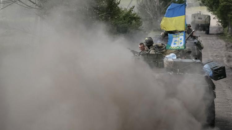 Ukrainian troops are seen near Slaviansk