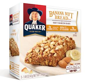 This undated photo provided by Quaker Oats, shows a package of Quaker Banana Nut Bread flavor, soft baked bars. On-the-go Americans are increasingly consuming their morning calories over several hours instead of sitting down to devour a plate of pancakes, bacon and eggs in one sitting. (AP Photo/Quaker Oats)