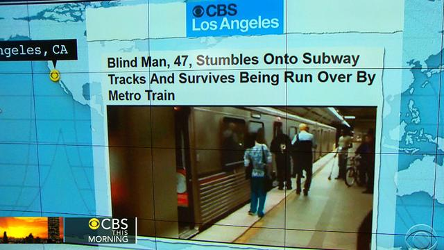 Headlines at 8:30: Blind man survives being run over by subway train