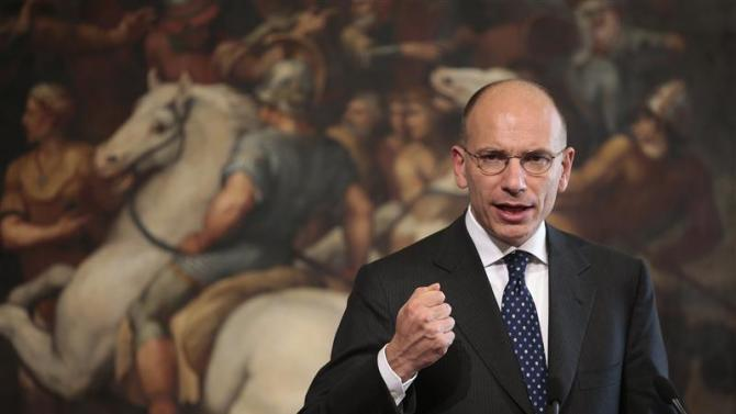 Italian PM Letta speaks during a joint news conference with Finnish counterpart Katainen at the end of a meeting in Rome