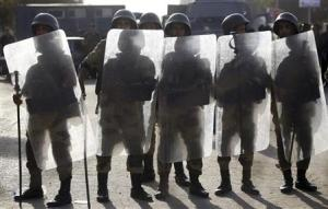 File photo of Egyptian soldiers standing guard near Rabaa al-Adawiya square during a protest by members of the Muslim Brotherhood and supporters of ousted Egyptian President Mohamed Mursi in Cairo