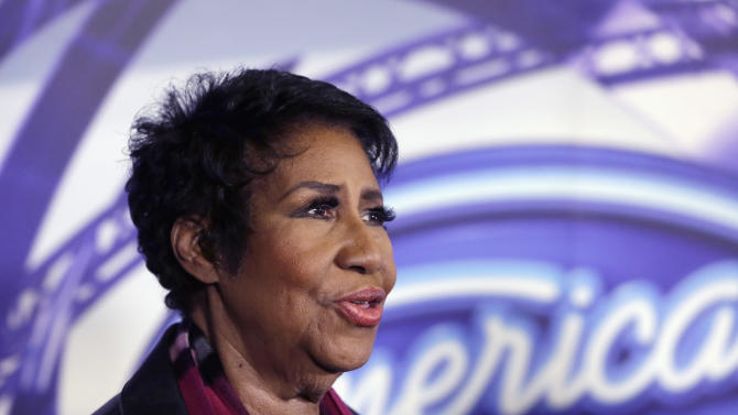 FILE - In a March 4, 2015, file photo, singer Aretha Franklin is interviewed after a taping for American Idol XIV at The Fillmore Detroit. A spokesman for Franklin said Monday, July 6, 2015, says the Queen of Soul is grateful to the state of Illinois for its help when her tour bus broke down on the way to Chicago. Transmission problems stopped the bus around 1:20 a.m. Monday a few miles from downtown. (AP Photo/Carlos Osorio, File)