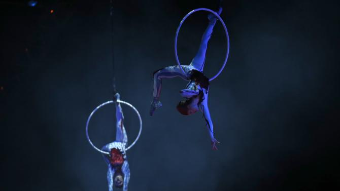 Artists perform during Cirque du Soleil's show 'Quidam' at the MEO Arena in Lisbon