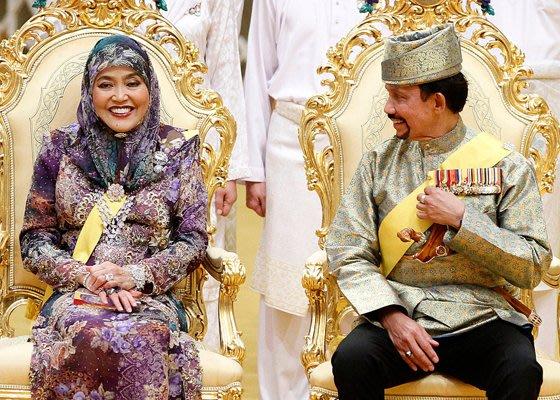 سلطان بروناي و زوجته