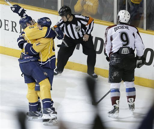 Legwand's goal lifts Predators over Avalanche 3-1