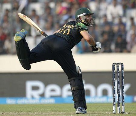 Pakistan's Shahid Afridi plays a ball against Australia during their ICC Twenty20 World Cup match at the Sher-E-Bangla National Cricket Stadium in Dhaka