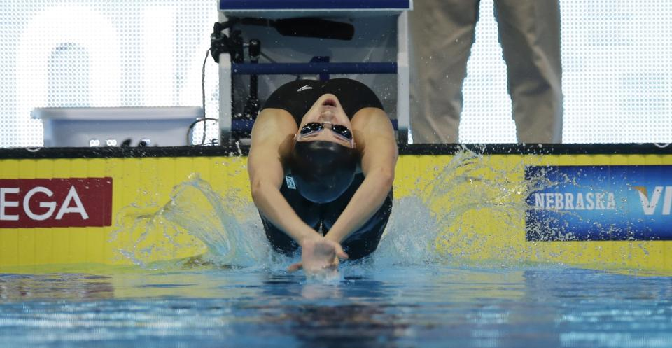 Rachel Bootsma starts in the women's 100-meter backstroke preliminaries at the U.S. Olympic swimming trials, Tuesday, June 26, 2012, in Omaha, Neb. (AP Photo/David J. Phillip)