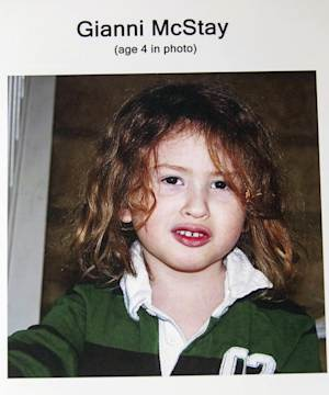 FILE - This photo provided by the San Bernardino County Sheriff's Department shows shows Gianni McStay. Officials have confirmed that bones found at a Southern California desert gravesite are those of two boys whose parents also were buried there. San Bernardino County coroner's officials report Friday that the state DNA lab confirmed the identities of Gianni McStay and Joseph McStay. (AP Photo/San Bernardino County Sheriff's Department, file)