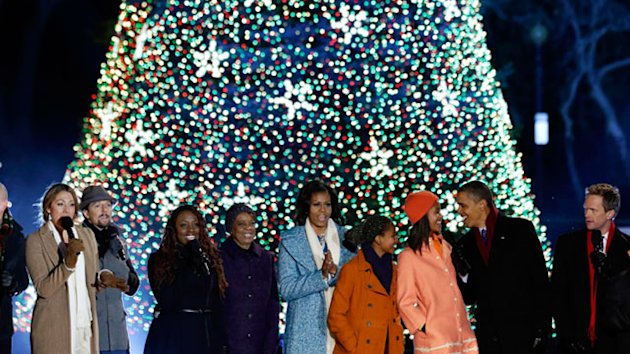 Obama Lights National Christmas Tree (ABC News)