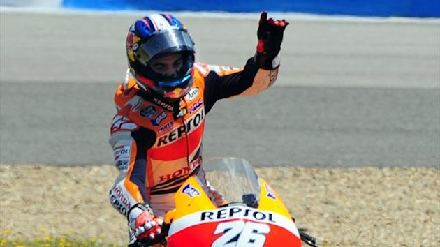 SPAIN, Jerez de la Frontera : Repsol Honda Team motoGP's Spanish rider Dani Pedrosa celebrates after winning the MotoGP race of the Spanish Grand Prix at the Jerez racetrack in Jerez de la Frontera on May 5, 2013. (AFP)