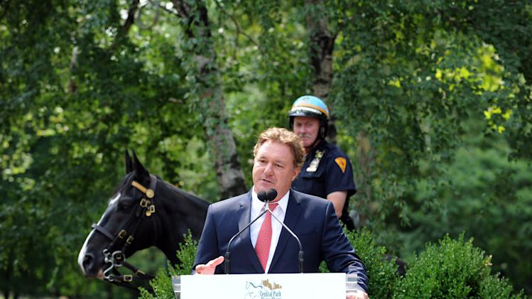 "IMAGE DISTRIBUTED FOR CHRONICLE OF THE HORSE - Mark Bellissimo, CEO of Equestrian Sport Productions and owner and publisher of Chronicle of the Horse, announces that the first ever ""Central Park Horse Show Presented by Rolex"" will come to Central Park's Trump Rink from September 18- 21, 2014 during a press conference at Tavern on The Green, Tuesday, July 29, 2014, in New York. (Photo by Diane Bondareff/Invision for Chronicle of the Horse/AP Images)"
