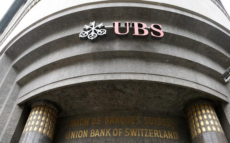 The logo of Swiss bank UBS is seen at a branch office in St. Gallen