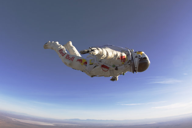 FILE - In this 2010 photo provided by Red Bull Stratos, Felix Baumgartner makes a 25,000-foot high test jump for Red Bull Stratos. On Monday, Oct. 8, 2012 over New Mexico, Baumgartner will attempt to jump higher and faster in a free fall than anyone ever before and become the first skydiver to break the sound barrier. (AP Photo/Red Bull Stratos, Luke Aikins)