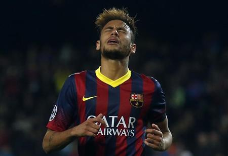 Barcelona's Neymar reacts after missing a chance to score against Manchester City during their Champions League last 16 second leg soccer match