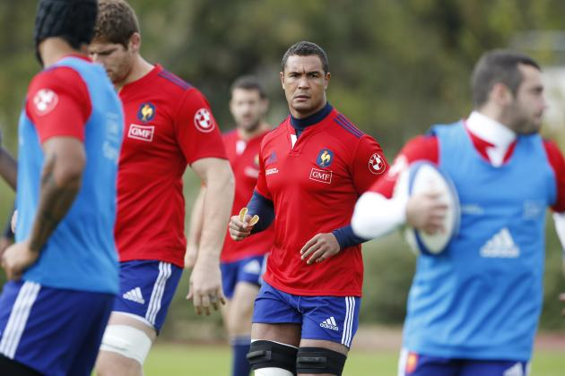 France's national team Captain Dusautoir attends a training session at the Rugby Union National Centre in Marcoussis