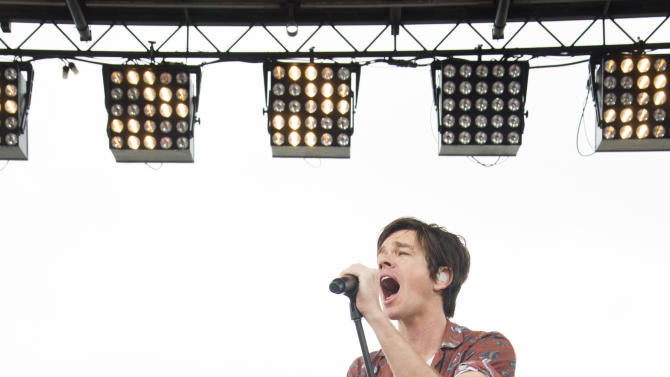 Nate Ruess from the band Fun performs on the beach during NBC's Today Show on Friday, May  24, 2013 in Seaside Heights, N.J. (Photo by Charles Sykes/Invision/AP)