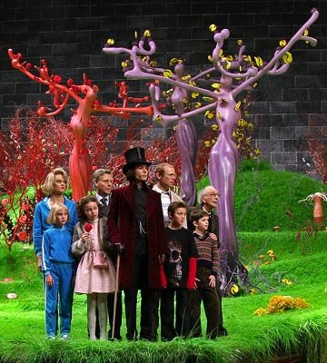 Missi Pyle , Annasophia Robb , Julia Winter , James Fox , Johnny Depp , Adam Godley , Jordan Fry , Freddie Highmore and David Kelly in Warner Bros. Pictures' Charlie and the Chocolate Factory