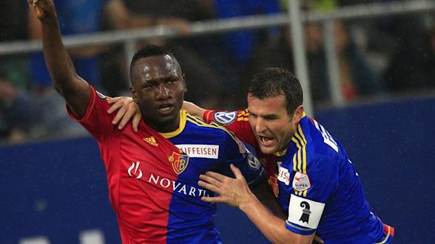 DATE IMPORTED:August 25, 2012FC Basel's (FCB) Jacques Zoua Daogari (L) celebrates with team mate Alexander Frei