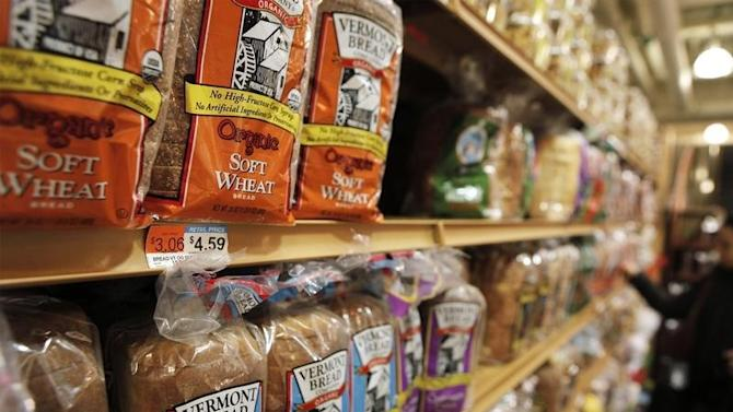 The price of bread is seen on a store shelf in New York