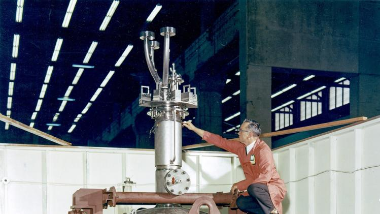 A reactor vessel, part of a Molten-Salt Reactor Experiment, is seen in this undated handout