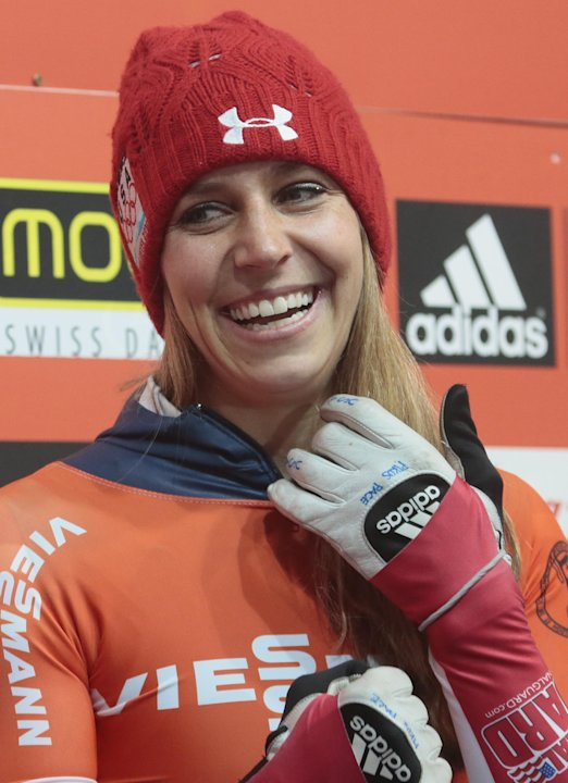 Winner Noelle Pikus-Pace of the U.S. react after the finish in the women's Bob event at the FIBT Bob & Skeleton World Cup 2013, in Krasnaya Polyana resort, east of Sochi, Russia, Saturday, Feb. 16, 20