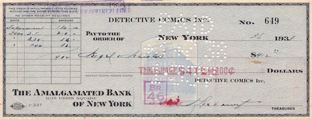 In this image released by ComicConnect.com, an image showing the canceled check sent to Superman creators Jerry Siegel and Joe Schuster in 1938. (AP Photo/ComicConnect.com)
