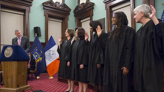 New York City Mayor Bill de Blasio addresses participants during a Judicial Swearing-In Ceremony at New York City Hall in New York