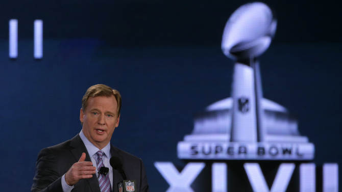 NFL Commissioner Roger Goodell answers questions during an NFL Super Bowl XLVII football game news conference at the New Orleans Convention Center, Friday, Feb. 1, 2013. in New Orleans. (AP Photo/Charlie Riedel)