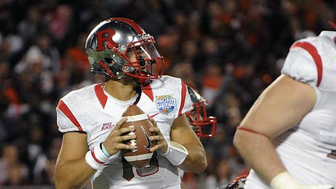 Rutgers quarterback Gary Nova looks for an open receiver during the second quarter of an NCAA college football Russell Athletic Bowl game against Virginia Tech, Friday, Dec. 28, 2012, in Orlando, Fla. (AP Photo/Brian Blanco)