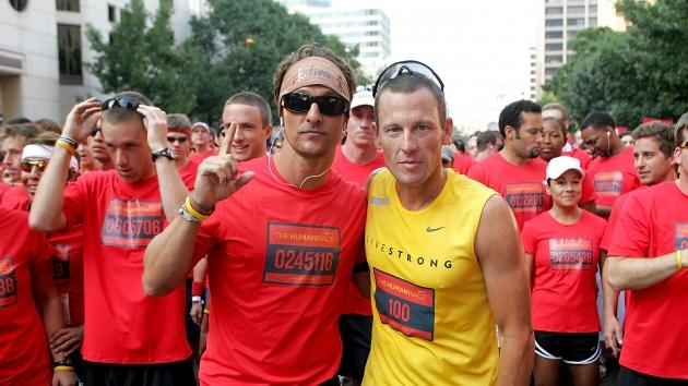 Matthew McConaughey & Lance Armstrong at the starting line for the Nike Human Race on August 31, 2008 in Austin, Texas -- Getty Premium