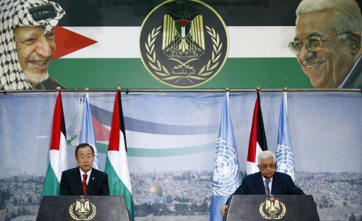 U.N. Secretary-General Ban Ki-moon and Palestinian President Mahmoud Abbas hold a joint news conference in Ramallah