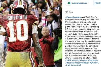 Robert Griffin III appears to support Dan Snyder's impeachment with a 'like' on Instagram