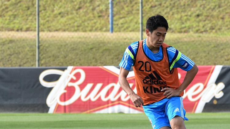 Japan and Manchester United forward Shinji Kagawa trains in Itu, Sao Paulo on June 22, 2014