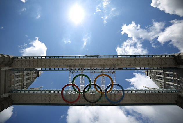 The Olympic Rings Are Installed At Tower Bridge