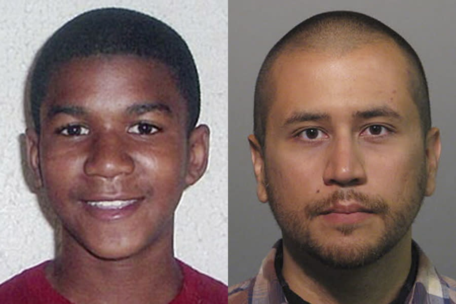 FILE -This combo image made from file photos shows Trayvon Martin, left, and George Zimmerman. The jury in the trial of neighborhood watch volunteer George Zimmerman began deliberating his fate, Friday, July 12, 2013, on charges in the 2012 shooting death of unarmed teenager Trayvon Martin. (AP Photos, File)