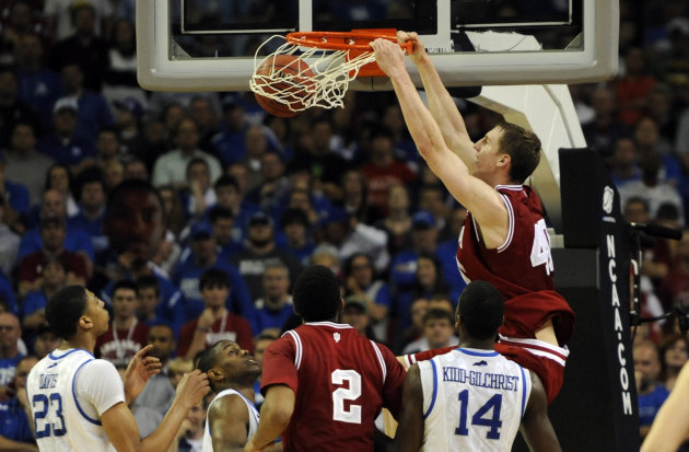 Mar 23, 2012; Atlanta, GA, USA; Indiana Hoosiers forward Cody Zeller (40) dunks the ball against the Kentucky Wildcats in the second half during the semifinals of the south region of the 2012 NCAA men&#39;s basketball tournament at the Georgia Dome.  Mandatory Credit: Richard Mackson-US PRESSWIRE