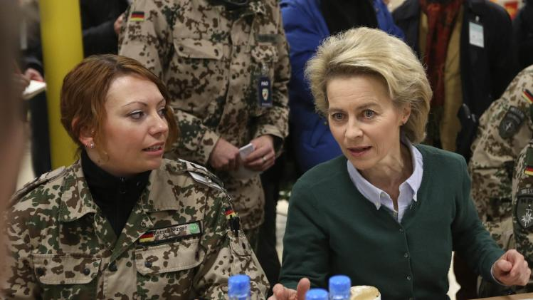 German Defence Minister Ursula von der Leyen has breakfast with German troops in Mazar-i-Sharif