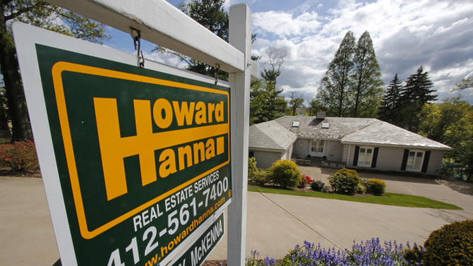 In this Monday, May 6, 2013, photo, a home is for sale in Mt. Lebanon, Pa. Standard & Poor's Case-Shiller reports on home prices in March are released Tuesday, May 28, 2013. (AP Photo/Gene J. Puskar)