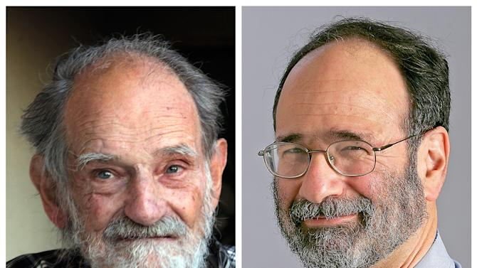 In this photo combination, UCLA professor emeritus Lloyd Shapley, left, is seen at his home Monday, Oct. 15, 2012, and Harvard professor Alvin E. Roth is seen in a 2008 photo provided by Harvard University. Shapley and Roth were awarded the Nobel economics prize Monday for studies on the match-making that takes place when doctors are coupled up with hospitals, students with schools and human organs with transplant recipients. (AP Photo/Reed Saxon, Harvard University)
