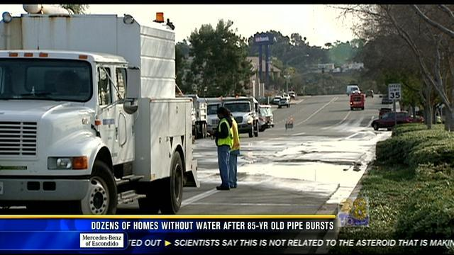 Dozens of homes without water after 85-year-old water main break