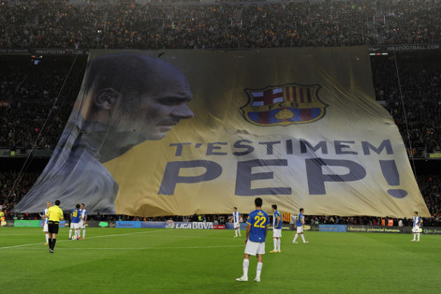 """We Love You Pep!"" Is Diplayed In Tribute To Barcelona's Coach Josep Guardiola Guardiola For His Four Seasons As Coach AFP/Getty Images"
