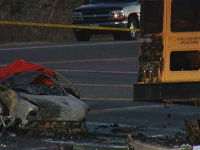 Raw: Deadly Minn. car-school bus crash