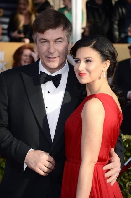 Alec Baldwin and wife Hilaria Thomas arrive at the 19th Annual Screen Actors Guild Awards held at The Shrine Auditorium on January 27, 2013 in Los Angeles, California. (Photo by Getty Images)  -- Getty Images